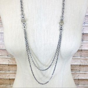 Ann Taylor silver mixed chain long necklace